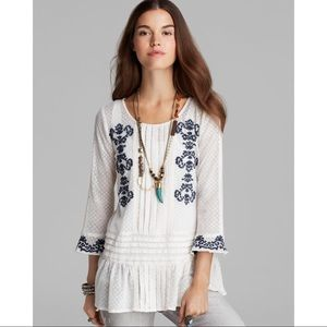 Free People Lace Embroidered Jocelyn Top Boho Sm